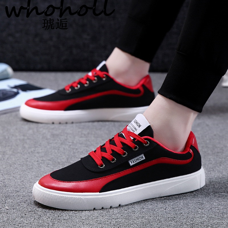 WHOHOLL Men Sneakers 2018 New Arrivals Fashion Lace-up Black/white Man Shoes Solid Sewing Shallow Casual Canvas Shoes Men fashion men s canvas shoes with solid color and lace up design