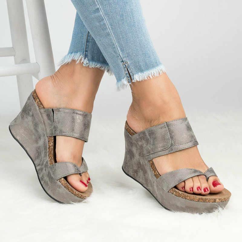 Wiggen Schoenen Voor Vrouwen Sandalen Plus Size Hoge Hakken Zomer Schoenen Flip Flop Chaussures Femme Platform Sandalen Wig Slippers C056