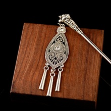 Bohemia Ethnic Vintage Gypsy Tibet Silver Color Tassel Carved Flower Chopstick Hair Sticks For Women Hairpins Jewelry Horquillas
