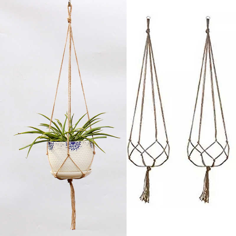 Vintage Decor Macrame Plant Hanger Basket Flowerpot Plant Holder Macrame Hanging Knotted Lifting Rope Garden Home Garden Decor