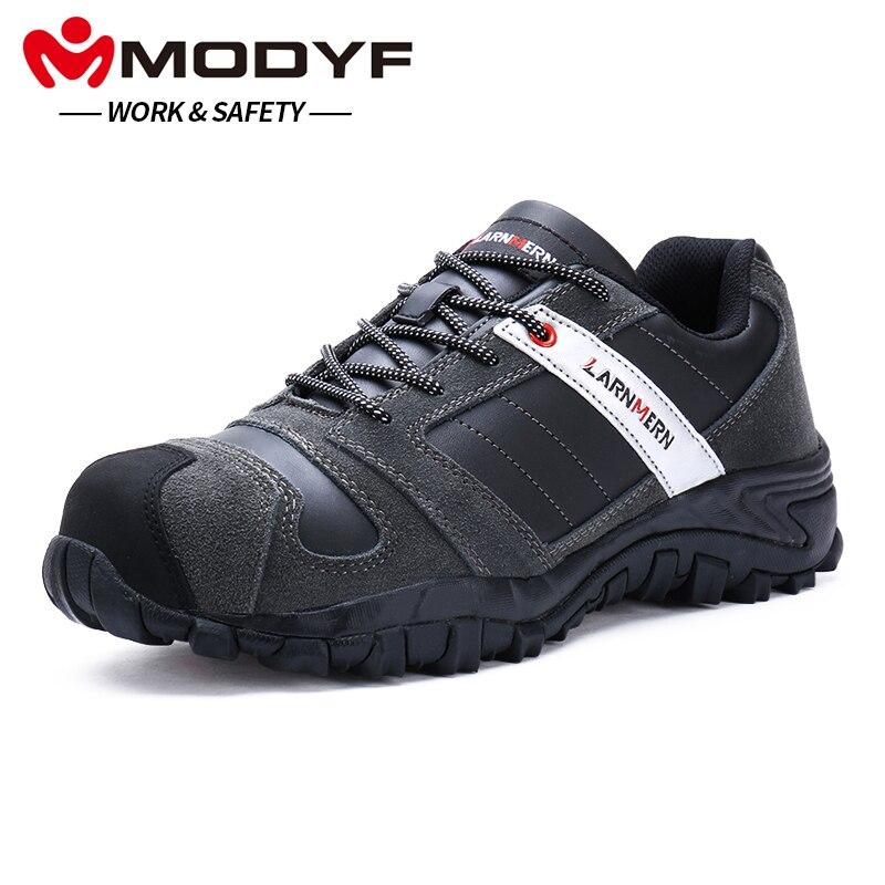 Homens MODYF de Trabalho Biqueira de Aço Calçados de Segurança de Couro Genuíno Calçados Casuais Anti-kick Punção Prova Ao Ar Livre Sneaker