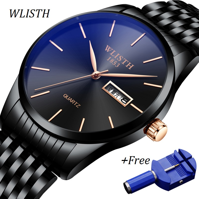 WLISTH Auto Day Date Watch Men Ultra Thin Male Clock Stainless Steel Water Resistant Quartz Watch Business Man Wrist Watches