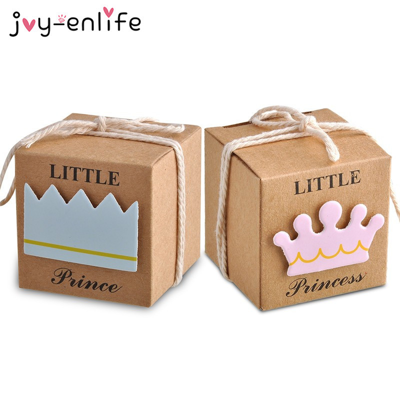 JOY-ENLIFE 20/40pcs Baby Shower Candy Box Little Prince/Princess Crown Kraft Paper Gift Box Birthday Party Baby Shower Supplies
