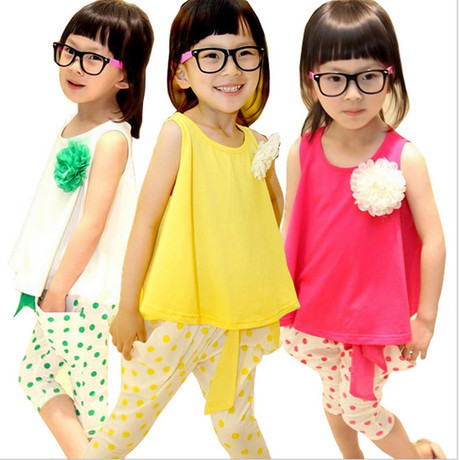 Retail!Age2-15,3 color,2pcs set=t-shirt+pant,girl's New Fashion Sweet candy flower summer princess,female children clothing/wear
