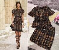 2018 ropa deportiva mujer Большие размеры твидовый пиджак и юбка комплект из двух предметов XS 4XL 5XL 6XL элегантный conjunto feminino зимний комплект