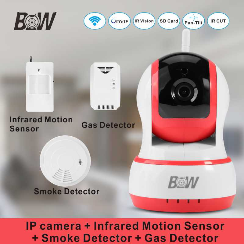 home security wifi ip camera wireless onvif smoke detector infrared motion sensor gas detector. Black Bedroom Furniture Sets. Home Design Ideas