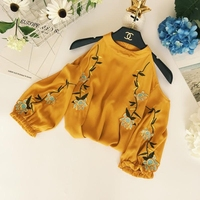 2018 Spring Summer New Women Sexy Strapless Halter Chiffon Shirt Embroidery Loose Thin Crop Tops Ladies