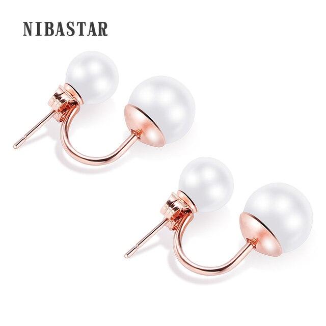 Double Pearl Earring Sided Wear Stainless Steel Earrings Gift