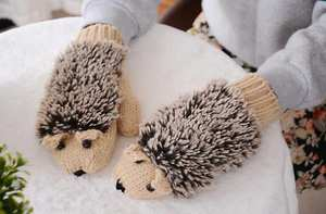 Cotton Gloves Warm Winter Woman's Fashion 7-Color Cartoon Hedgehog Novelty Girls ST30