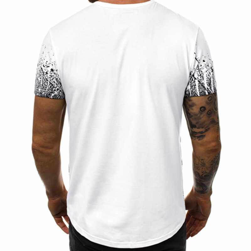 2019 quente estilo europeu e americano masculino lazer cor gradiente camiseta longo gola redonda camiseta de fitness