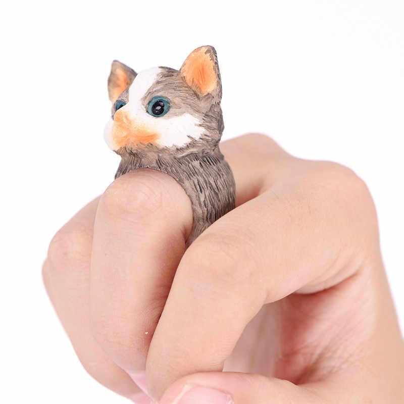 Виды кольцо с изображением животного s обезьяна и лягушка птица собака лиса кролик Ежик панда Женщины Мужчины милый мультфильм 3D Открытый манжеты кольцо с изображением животного