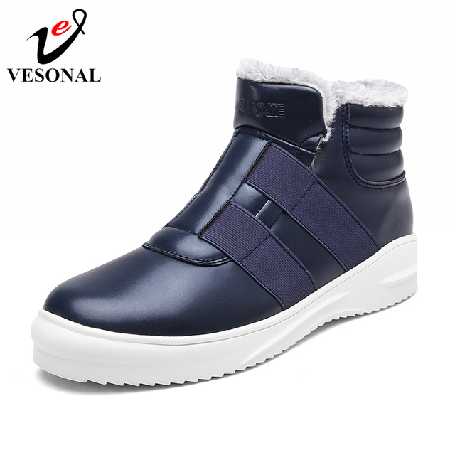 VESONAL 2018 Winter Warm Fur Casual Ankle Snow Boots For Men Slip On Shoes Adult Quality Walking Designer Sneakers Footwear 788