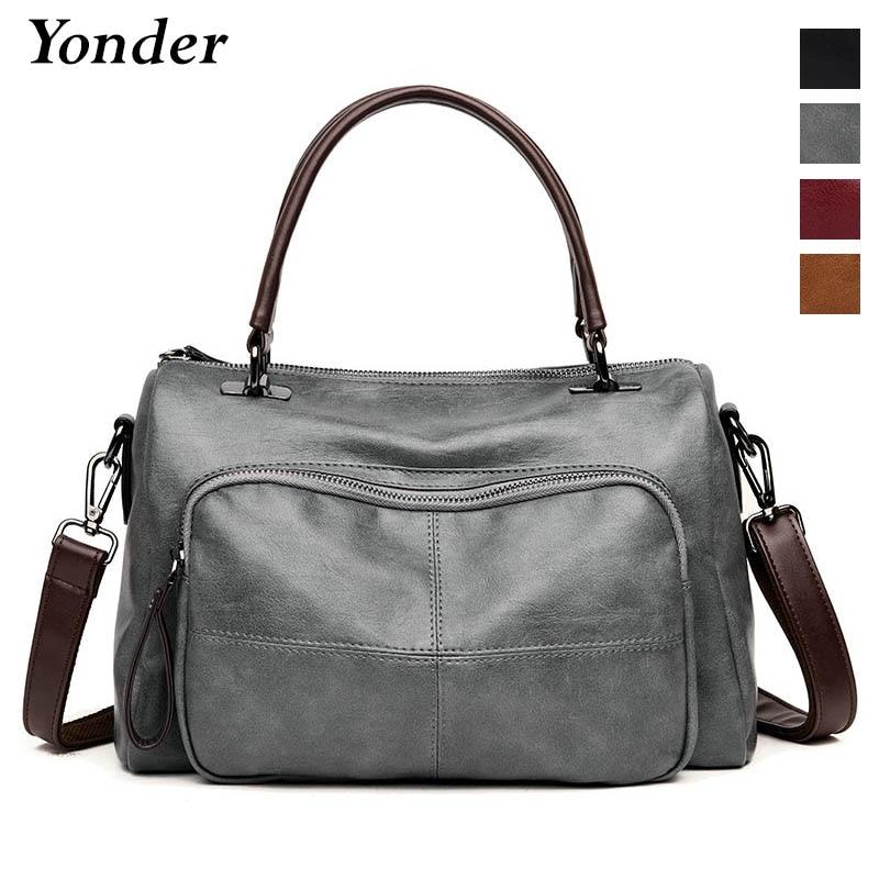 Yonder women bag genuine leather large capacity shoulder bag crossbody tote bag designer handbag Casual Bolsos