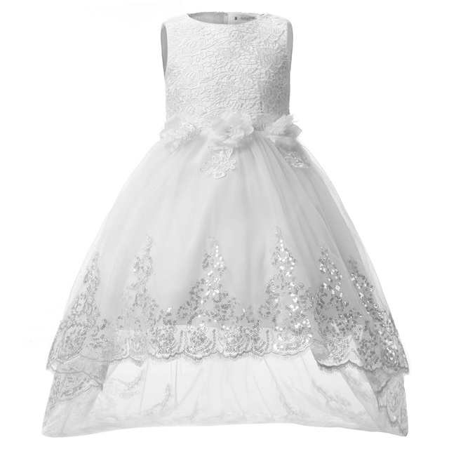 20a65ecaa89 Kids Party Dresses For Girls Frock Children White Lace Tulle Flower Girl  Dress Princess Wedding Gown Teen Girl Clothes 4-12 Year
