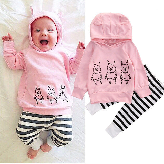 0-2 Y Newborn Infant Baby Girl Clothes Three Piglets Pink Hoodie Tops Striped Pants Leggings 2Pcs Outfits Set