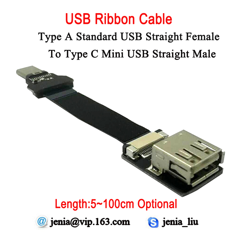 5CM To 100CM Ultra Thin USB Flat Ribbon Cable Type A Straight Standard Female To Male Type C Mini Straight FPV Data Cable