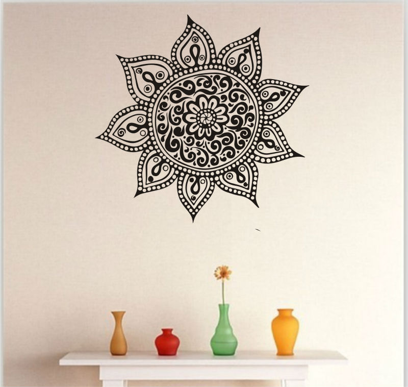 Mandala Mehndi Wall Sticker DIY Large Wall Stickers Home Decor Indian Hindu  Buddha Wall Decals Home Decoration