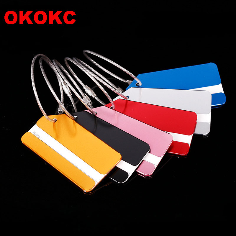 OKOKC Rectangle Aluminium Alloy Luggage Tags Travel Luggage Label Strap Suitcase Name ID Address Tags Travel Accessories wulekue rectangle aluminium alloy luggage tags travel accessories baggage name tags suitcase address label holder