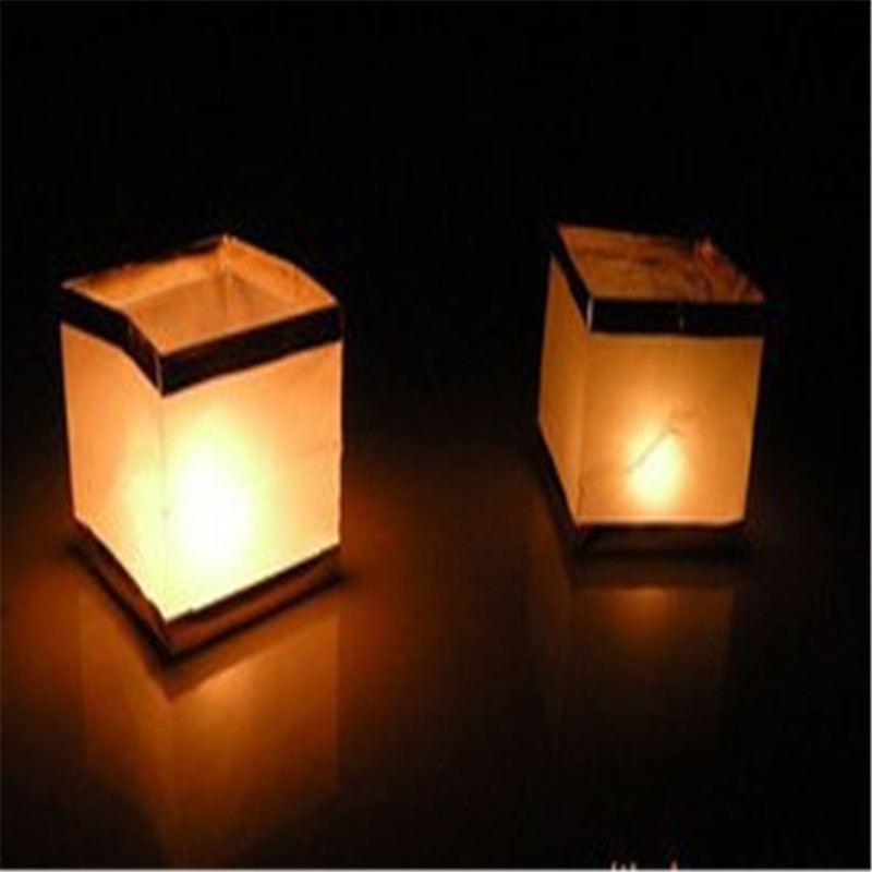 high quality1pcs chinese square paper wishing floating outdoor water river candle lanterns lampchina - Outdoor Candle Lanterns
