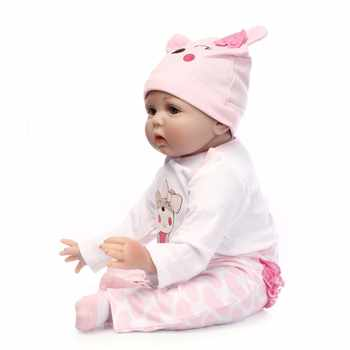 55cm Silicone Reborn Baby Doll Toys Lifelike Soft Cloth body Newborn babies bebes Reborn doll Birthday Gift Girls Brinquedos