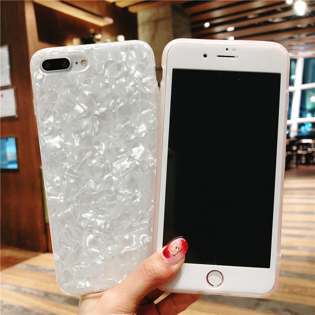 promo code 3260a 2db70 US $5.69 5% OFF|For iPhone 8 8Plus White Conch Shell Case + Tempered Glass  Screen film , Bling Paillette Cover for iPhone 7 7plus 6 6S 6SPlus-in ...