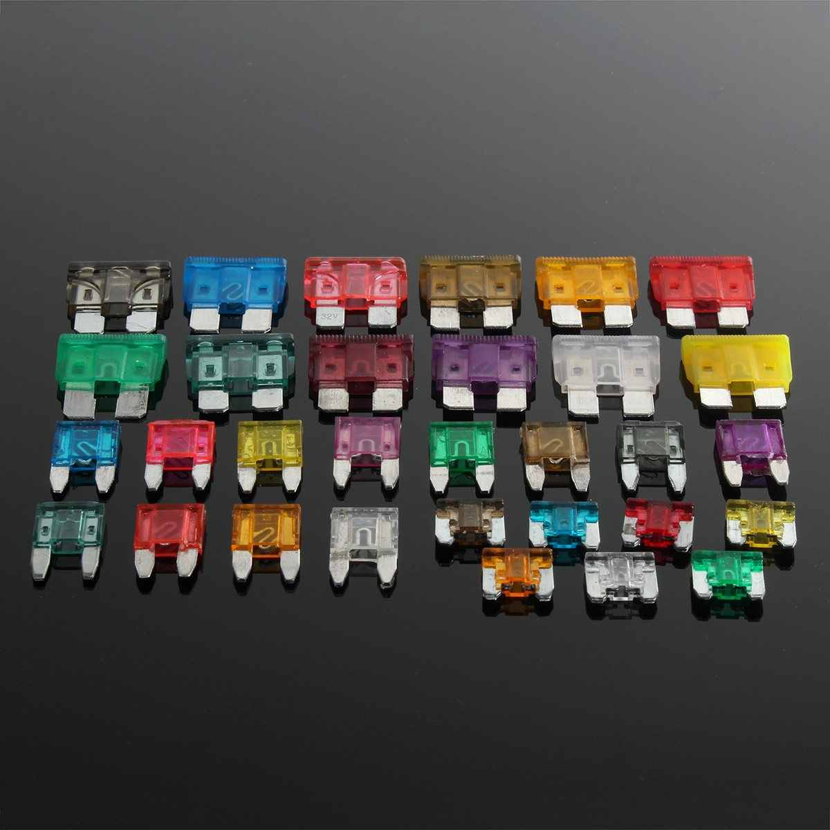 165pcs auto atc mini low profile blade fuse assortment kit box 1 40 amp car  [ 1200 x 1200 Pixel ]