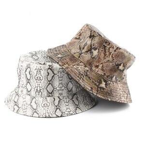 Змеиная кожа Харадзюку мужская шляпа-Панама женская уличная Панама Кепка в стиле хип-хоп Двусторонняя шляпа в рыбацком стиле