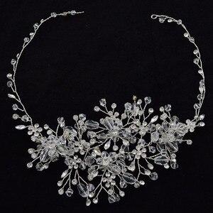 Różowe złoto Rhinestone kwiaty zroszony pałąk kolor Metal kryształ ślub Hairpiece ślubne na włosy winorośli akcesoria biżuteria Tiara