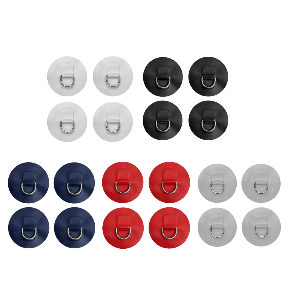 4 Pieces Stainless Steel D-ring Pad Patch For PVC Inflatable Boat Dinghy Yacht Kayak SUP - White/ Black/ Red/ Gray/ Dark Blue