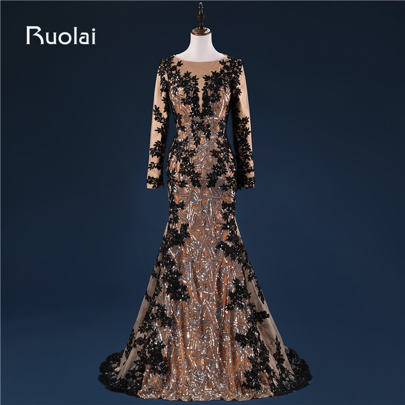 Real Photo Dubai Muslim Evening Dresses Black Appliques Sequined Bodice Long Sleeves Mermaid Prom Dresses 2017