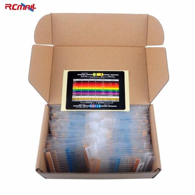 1460 قطعة RCmall 1/4W المعادن مقاوم من غشاء متغير كيت المقاومة 1% الدقة 73 القيم 1K 10K 220ohm 100ohm FZ2426