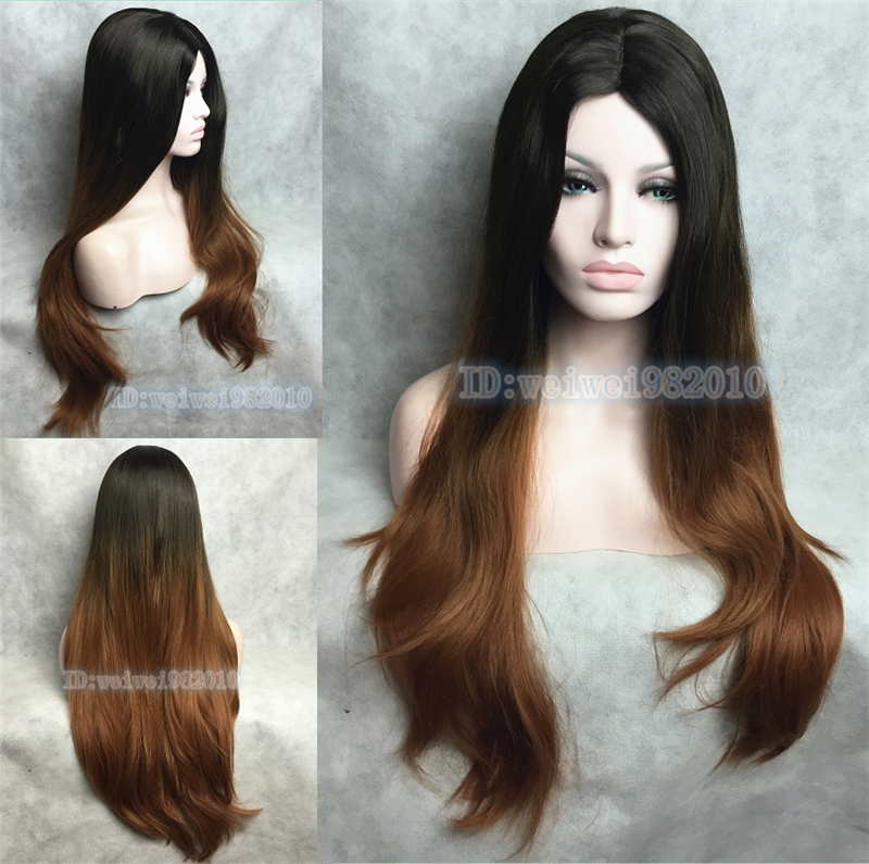 Ombre Wigs Long Straight Two Tone Natural Black Henna Heat Resistant