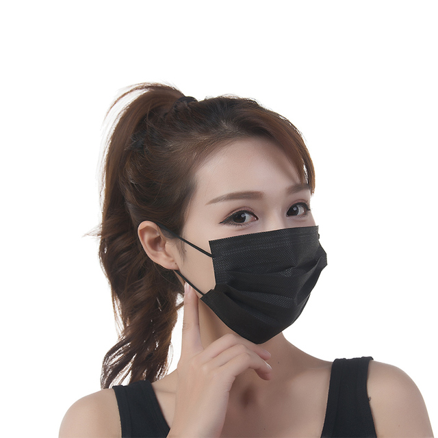 ABESO 50pcs/pack Disposable Non Woven Black Face Mask 4 Layer Medical dental Earloop Respirator Outdoor Anti-Dust Flu Surgical
