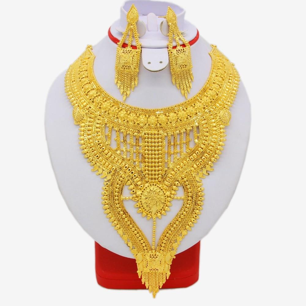 African Jewelry Set High Quality Gold Color/Copper Necklace Earrings Set Luxury Arab Dubai Wedding Party MOM/Girlfriend Gifts пальто кору стиль пальто