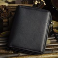 Crazy Horse/Oil Wax Cowhide Men Zipper Wallet Vintage Zipper Pocket Card Holder Bifold Purse Male Genuine Leather Mini Money Bag