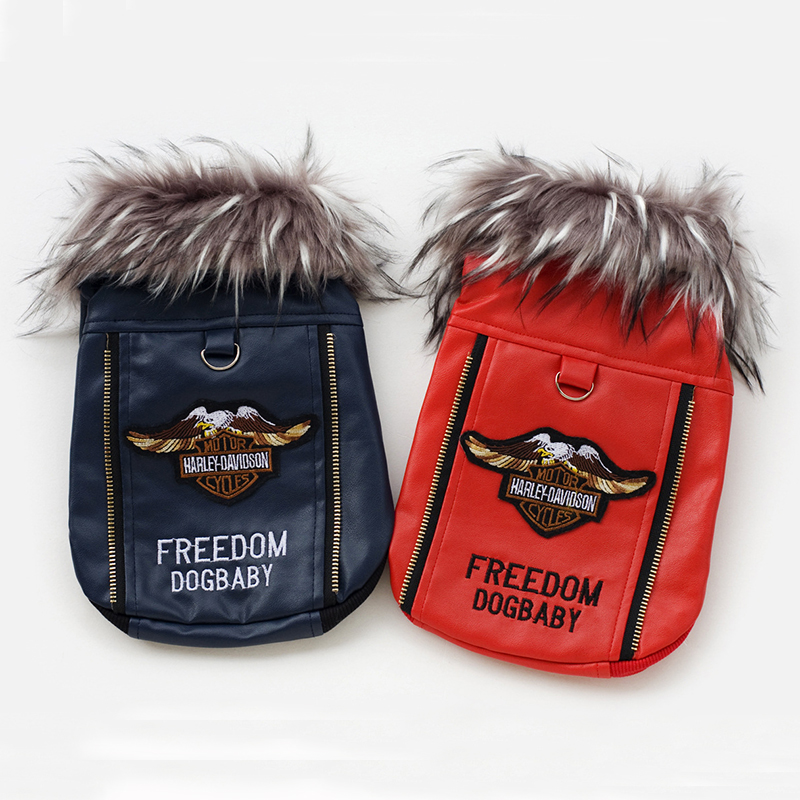 Fashion Winter Pet Dog Clothes Leather Coat Motorcycle Jacket Apparel Puppy Warm Clothing for Teddy Chihuahua ropa perro YP29