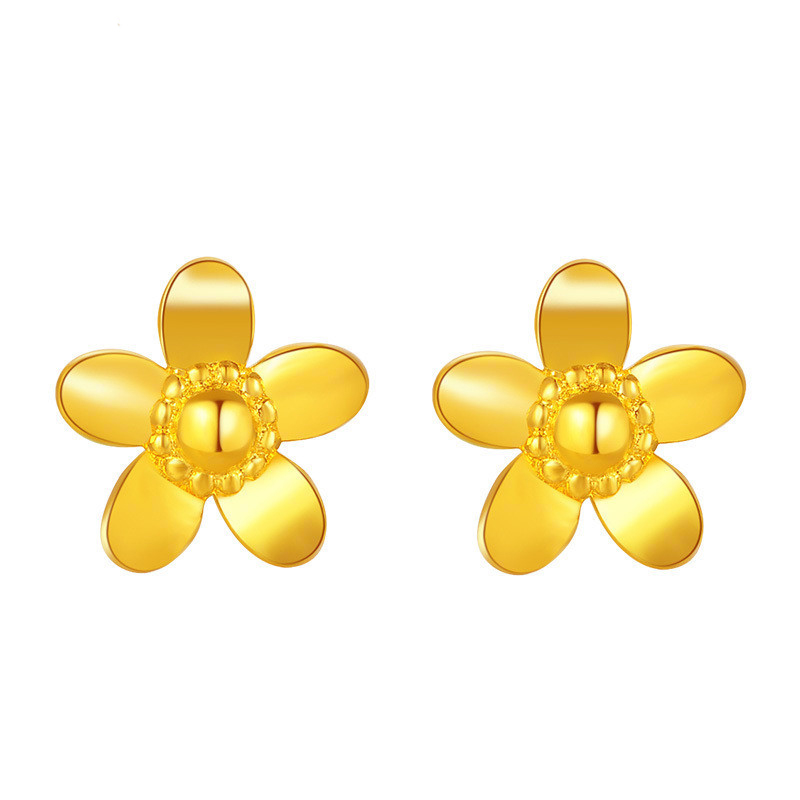Pure 999 Yellow Gold Flower Stud Earrings 2.11g
