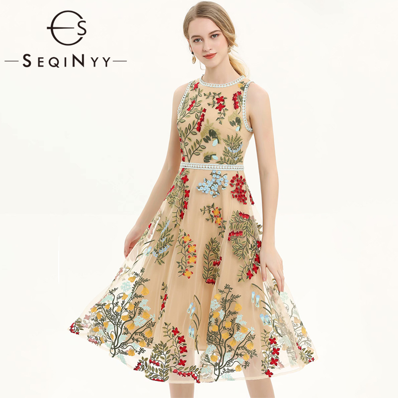 SEQINYY Vest Mesh Dress 2019 Summer New Fashion Design Lace High Quality Luxury Emrboidery Flowers Slim Beige A line Dress-in Dresses from Women's Clothing    1
