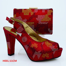 Red Italian Design Shoes and Bag Matching African Women Shoes and Bags for Wedding and Parties CP63007