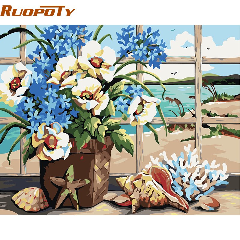 RUOPOTY Conch Flower Diy Painting By Numbers Pittura astratta dipinta - Home decor