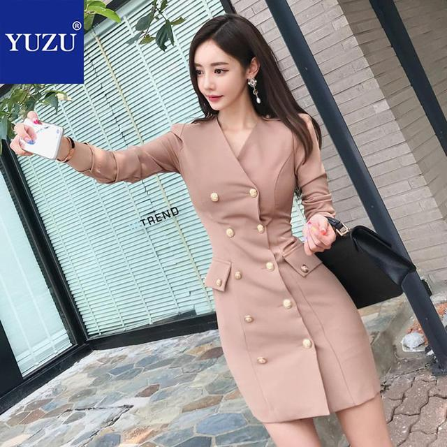 f2d91840ada Bodycon Dress Women Clothes 2019 Blazer Office Women Work Khaki V Neck  Three Quarter Sleeve Double