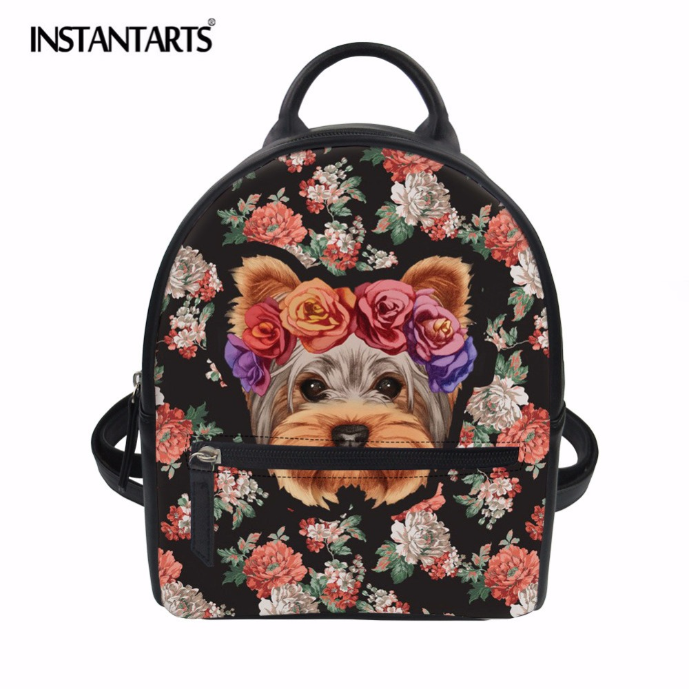 2911c5f2e350 INSTANTARTS Funny Flower Goofy Husky Schnauzer Yorkie Print Girl Mini PU  Leather Backpack Casual Student School Bags Female Girl