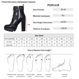 Image 5 - Perixir Nero Stivali Tacco Delle Donne di 2020 di Modo della Molla di Autunno Lace up Piattaforma Morbida Pelle Scarpe Da Donna di Partito Della Caviglia Stivali tacchi alti