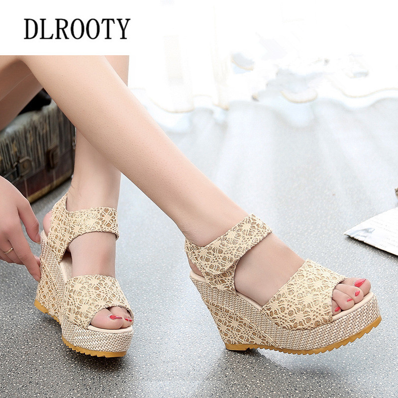 DLROOTY Sandals 2018 Summer Lace Hollow Wedges Casual