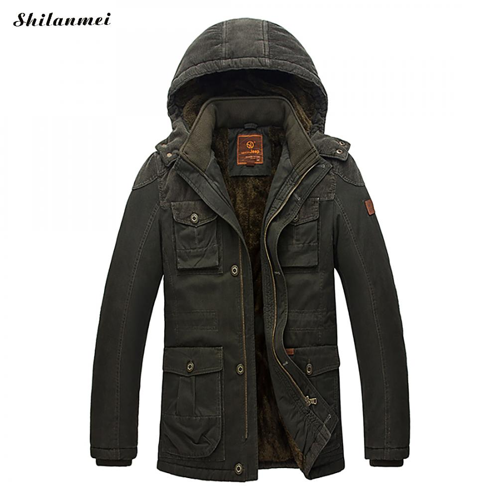 Men's Parkas With Hat Army Green Winter Jacket For Men Zipper Khaki Pockets Patchwork Male Coat Thicken Warm Outwear Plus Size groundnut brand thick fleece warm winter parkas men hooded zipper pockets cotton coats outerwear khaki army green plus size