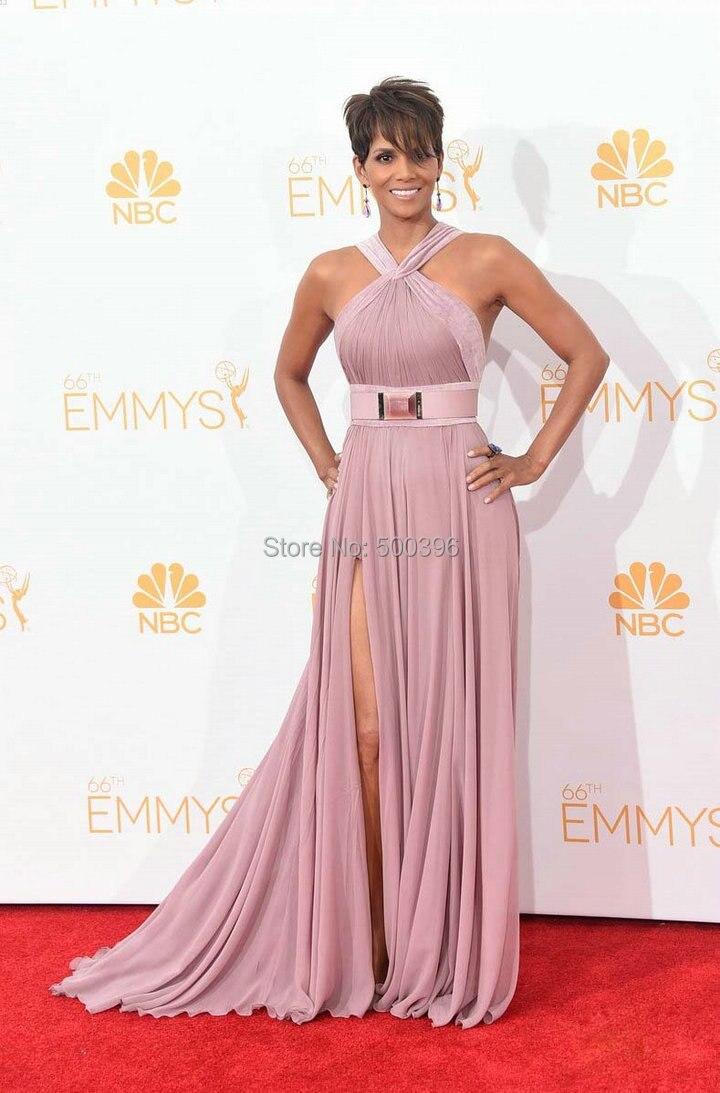 Charming Chiffon Celebrity Dress Halle Berry Emmy Red Carpet 2014 ...