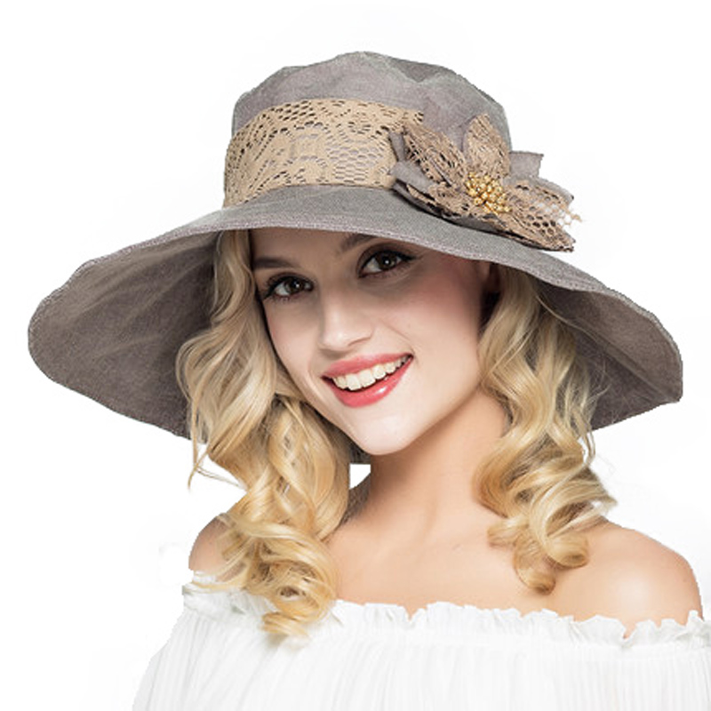 5a5b6f20ca5ac Aliexpress.com   Buy FS Ladies Large Brim Floppy Foldable Sun Hats For Women  Summer Hats With Flower Gorras Beach Visor Caps Derby Hat from Reliable ...