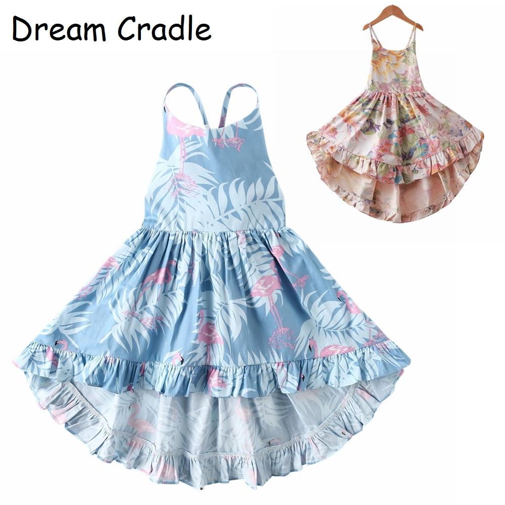 Sonho Berço/Flamingo Up-baixo Vestido de Verão Menina com/Sem Encosto Vestido Da Menina Do Bebê