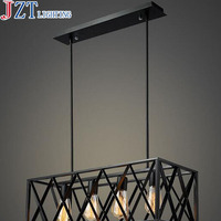 Best Price 4/6 Head Rectangular Vintage Black Iron Lamp American Industrial Wind Creative Personality Living Room Chandelier