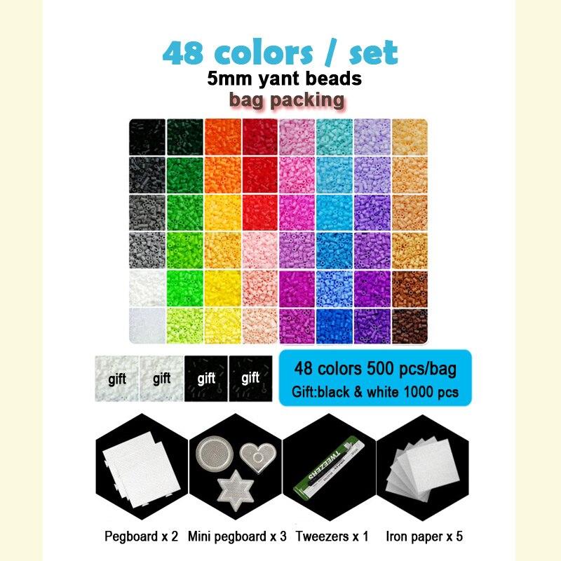 Yantjouet 5mm Yant koraliki zestaw 48 kolor/zestaw OPP torba czarny biały dla dzieci Hama Perler koralik Diy puzzle prezent wysokiej jakości zabawki dla dzieci w Puzzle od Zabawki i hobby na  Grupa 2